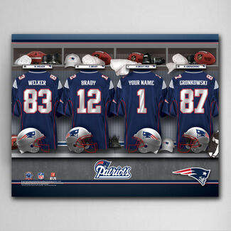 "NFL New England Patriots 18"" x 24"" Locker Room Canvas Print with Jerseys and Up to 12 Character Personalization for 1 Jersey"